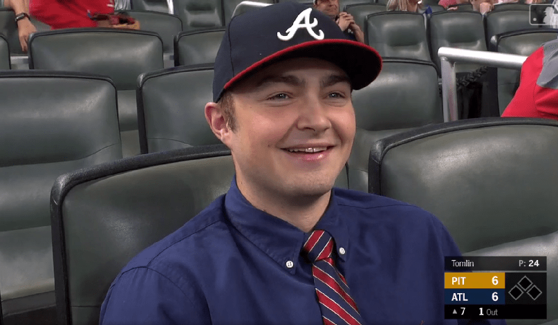5e73b102 Braves 1st-rounder C Shea Langeliers enjoys a Braves game after signing  with the team. (Fox Sports South via MLB.com)