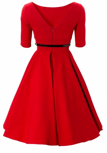 Elegance at it's best! Beautiful 50s Audrey Hepburn inspired swing dress in lipstick red with chic above elbow sleeves
