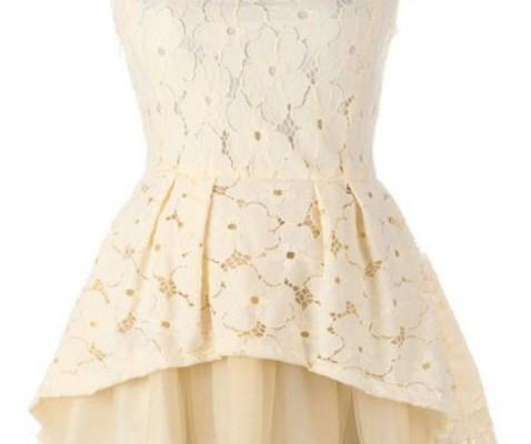 Floral Dress – Design Wonderful Elegant Beige Big Hem