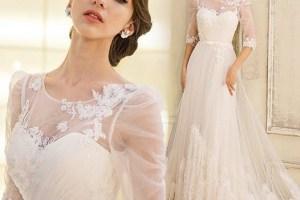 Fancy Half Sleeves Appliques Scoop Neck A-Line Wedding Dress