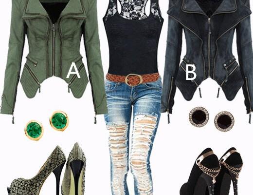 Stud Denim Jacket and black Lace Top