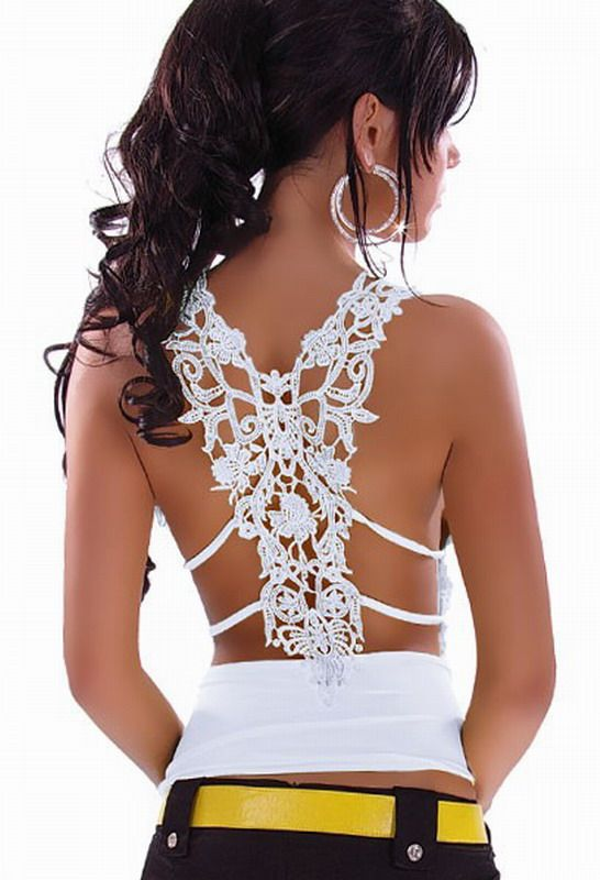 Ruffle Top with Sexy Lace Back For Embroidery
