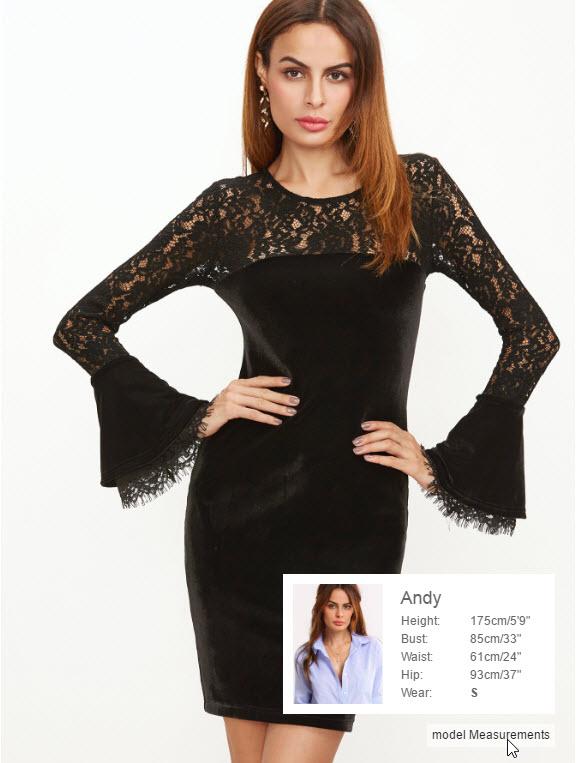Black Floral Lace Shoulder Bell Sleeve Velvet Dress
