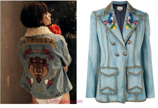 Minkpink Disney By Minkpink Baroque N Beauty Jacket and Gucci Embroidered studded denim blazer