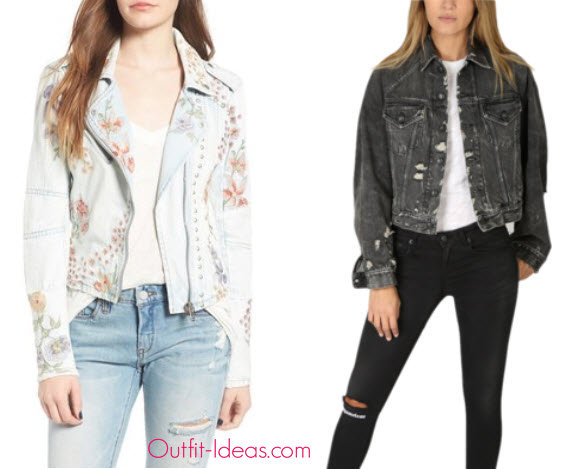 Women s Blanknyc Embroidered Denim Moto Jacket and R13 Raglan Trucker Jacket