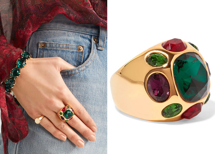 inel Kenneth Jay Lane Gold-plated crystal ring