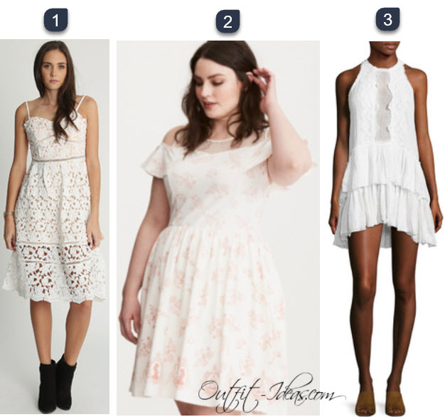 white lace pleated dress