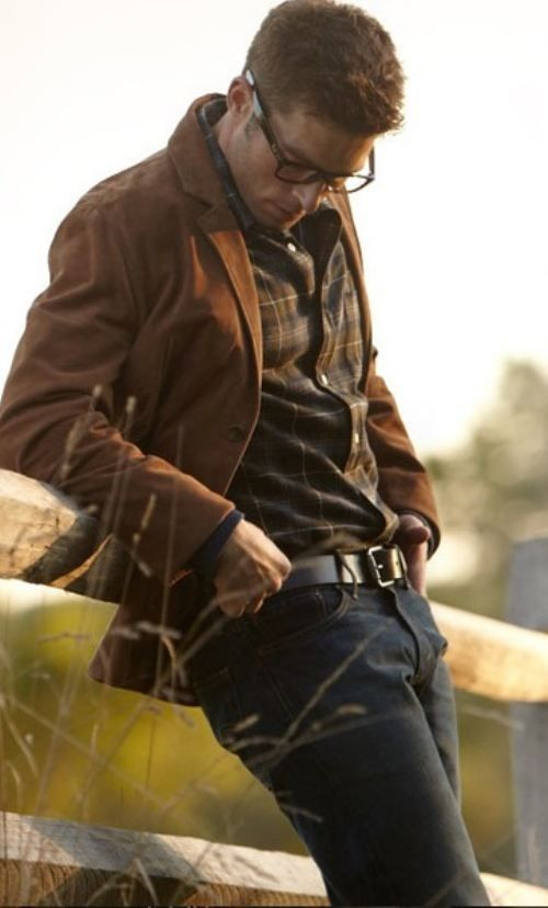 Mens Brown Blazer Layered with Plaid Dress Shirt