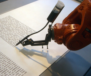 A writing robot. Lacks personality. Credit: Mirko Tobias Schaefer, http://www.flickr.com/photos/gastev/2174504149/