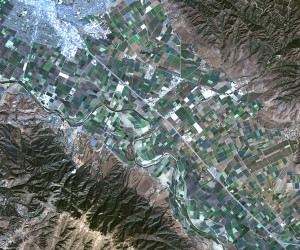 A view of Salinas, Calif. compiled from Landsat 5 data. Photo credit: Forrest Melton, Cooperative for Research in Science and Technology at NASA Ames Research Center
