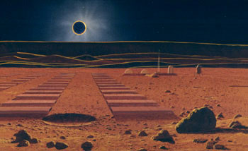 This early Hartmann painting pictures a future lunar base, with an array of solar panels, in the region of the Orientale basin. An eclipse of the sun by Earth scatters reddish light through Earths atmospher, as during sunse t on Earth. The light casts a coppery glow on the moon, as is also seen from Earth during an eclipse of the moon. Painting © William K. Hartmann, at Planetary Science Institute, Tucson.