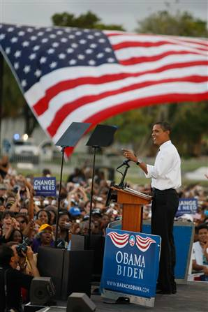 Sen. Barack Obama speaks at a campaign rally October 21, 2008 in Miami, Florida.