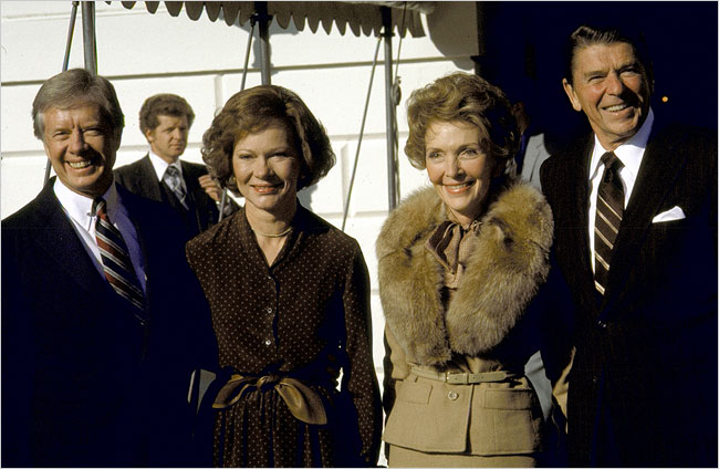 Ronald and Nancy Reagan, right, and President Jimmy Carter and his wife, Rosalynn, in 1980.