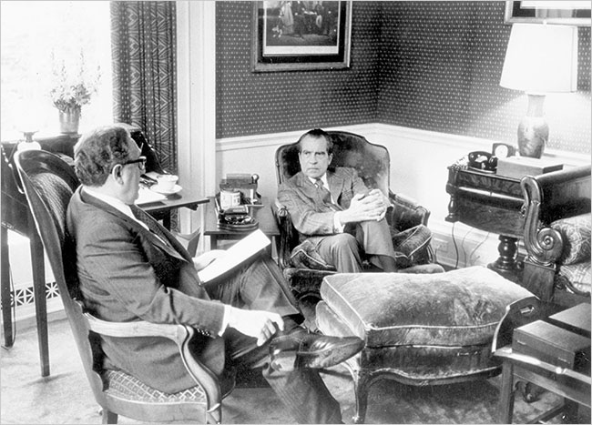 Henry A. Kissinger and Richard M. Nixon at the White House. Enlarge+