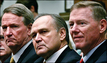 The Big Three CEOs -- Richard Wagoner of General Motors, left, Robert Nardelli of Chrysler and Alan Mulally of Ford -- went begging on the Hill. (By Chip Somodevilla -- Getty Images)