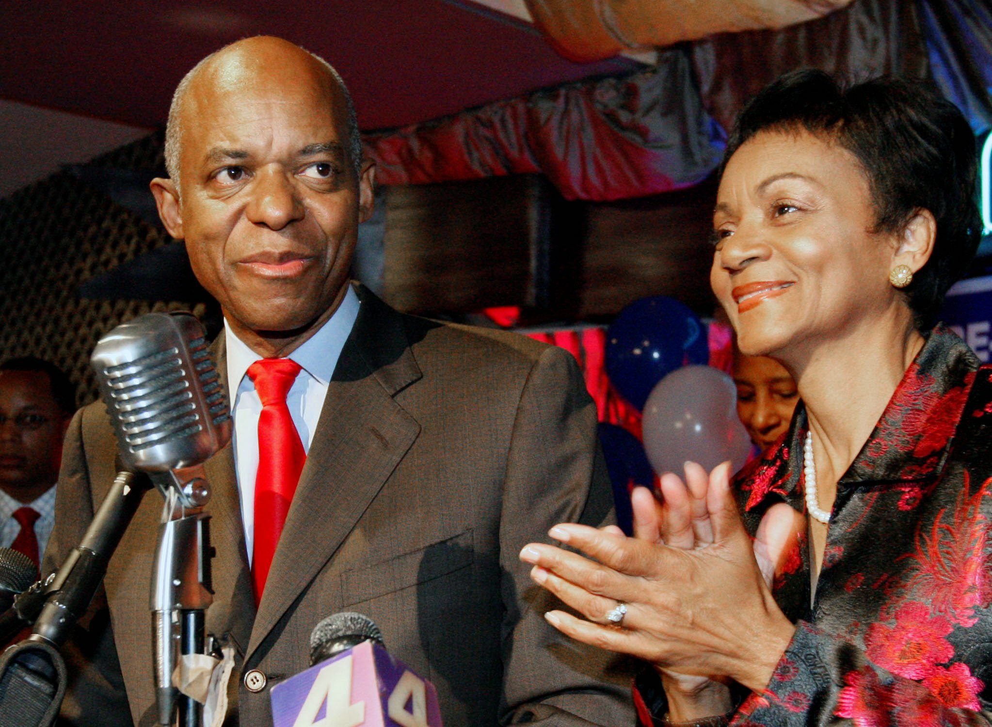 Rep. William J. Jefferson, Louisiana Democrat, shown with his wife, Dr. Andrea Green-Jefferson, was expected to win re-election Saturday in a race delayed by Hurricane Gustav.