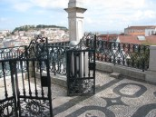 View above Rossio across to the castle