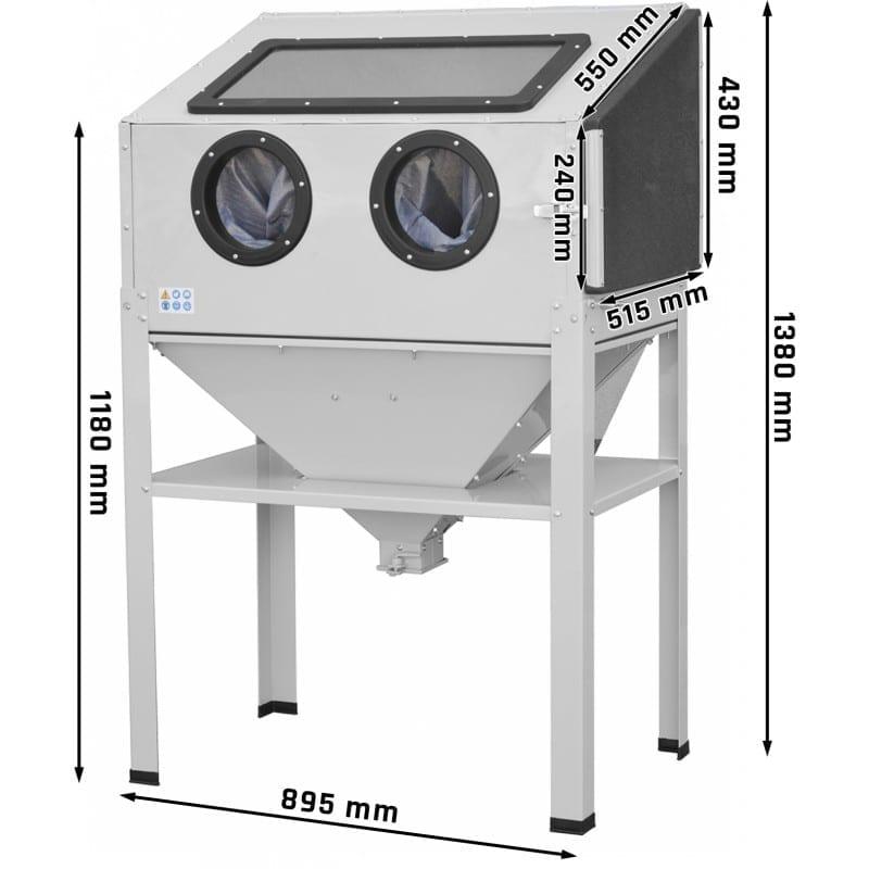 Cabine de sablage 220L ouverture latérale dimensions