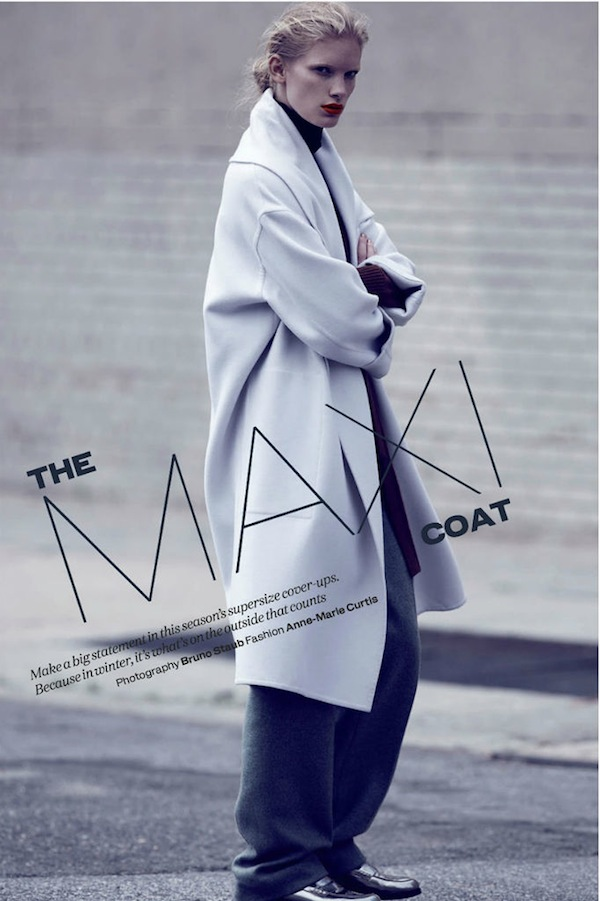 The Maxi Coat: Ilse De Boer By Bruno Staub for Uk Elle October 2013