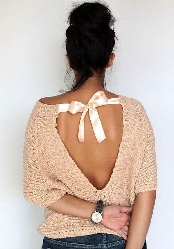 Satiininauhalla sidottu kesäneule : Bow back summer sweater