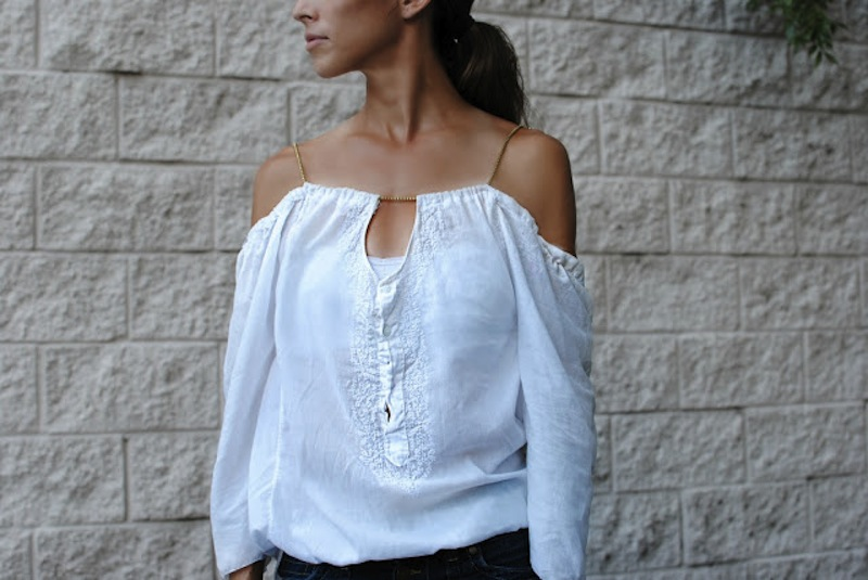 Trash To Couture offshoulder shirt tutorial 2