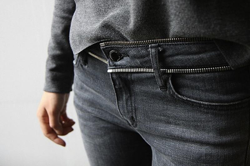 zipper denim jeans belt