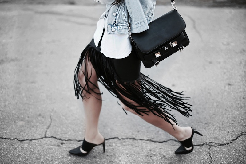fringe leather skirt HappilyGray
