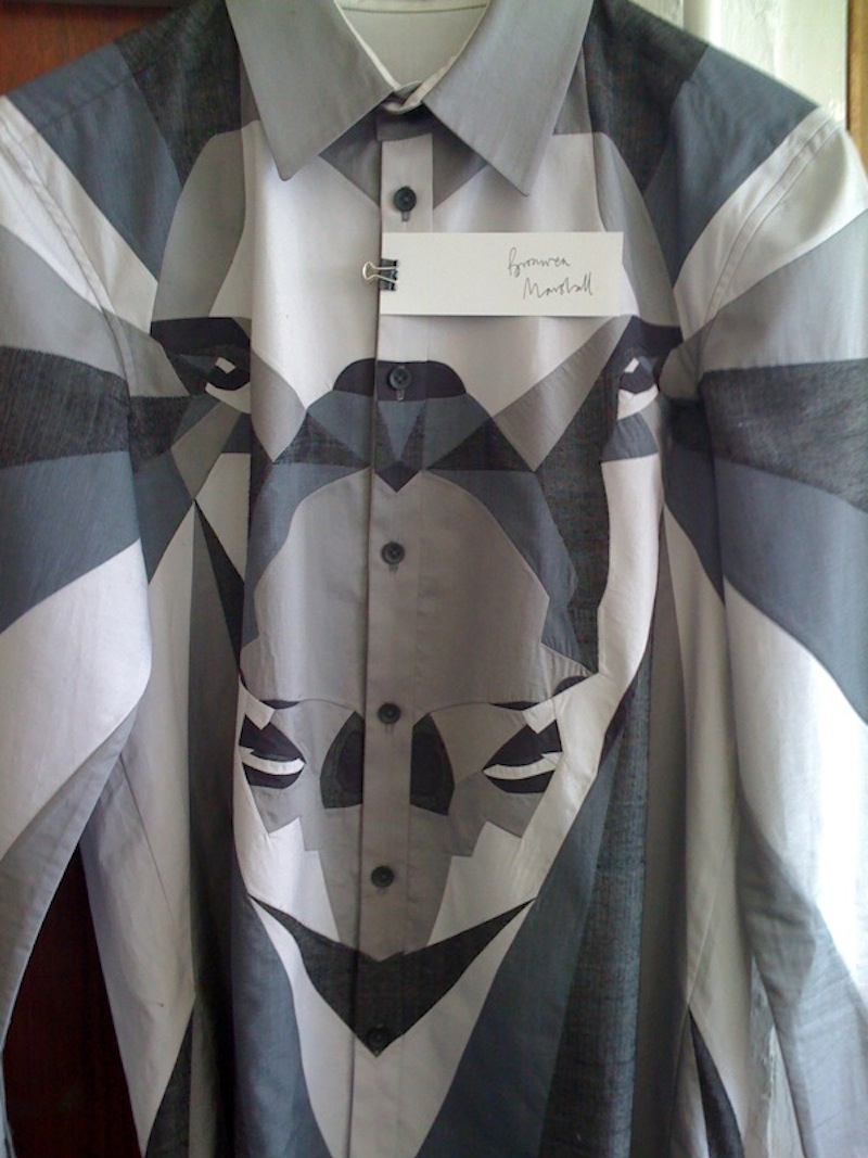 Bronwen Marshall couture menswear patchwork upcycle mens shirt