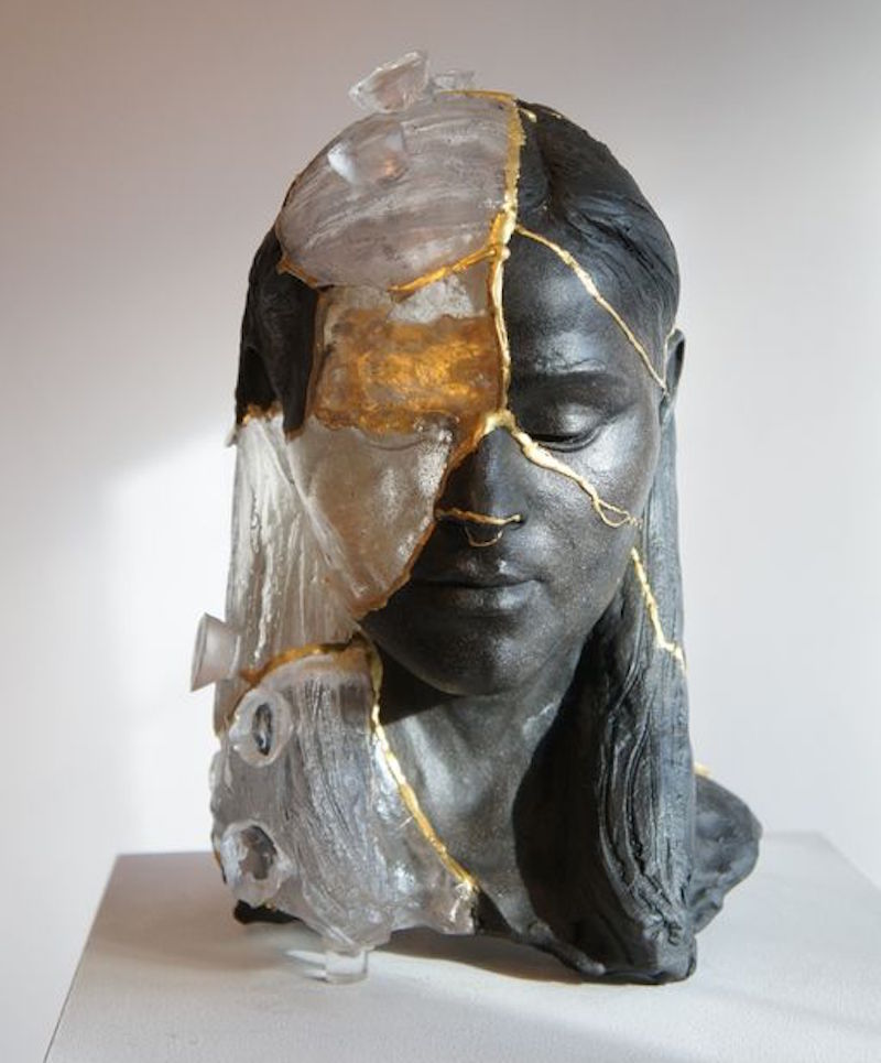 Billie Bond sculpture 2014 Kintsugi Head