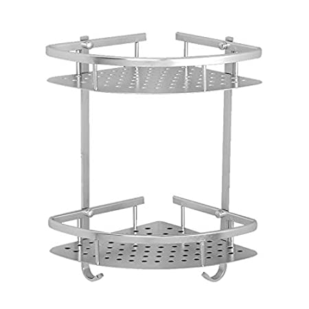 allright 2 pcs etagere dangle salle de bain murale aluminium rangement de douche