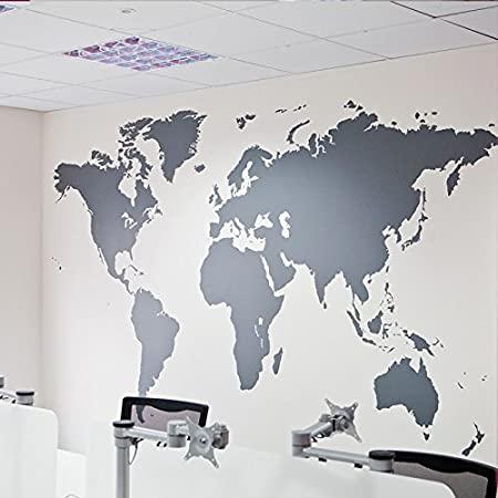 iisport sticker mural la carte du monde autocollant mural maison ou bureau noir et blanc
