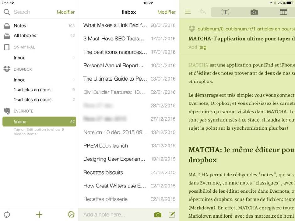 MATCHA iPad client Evernote