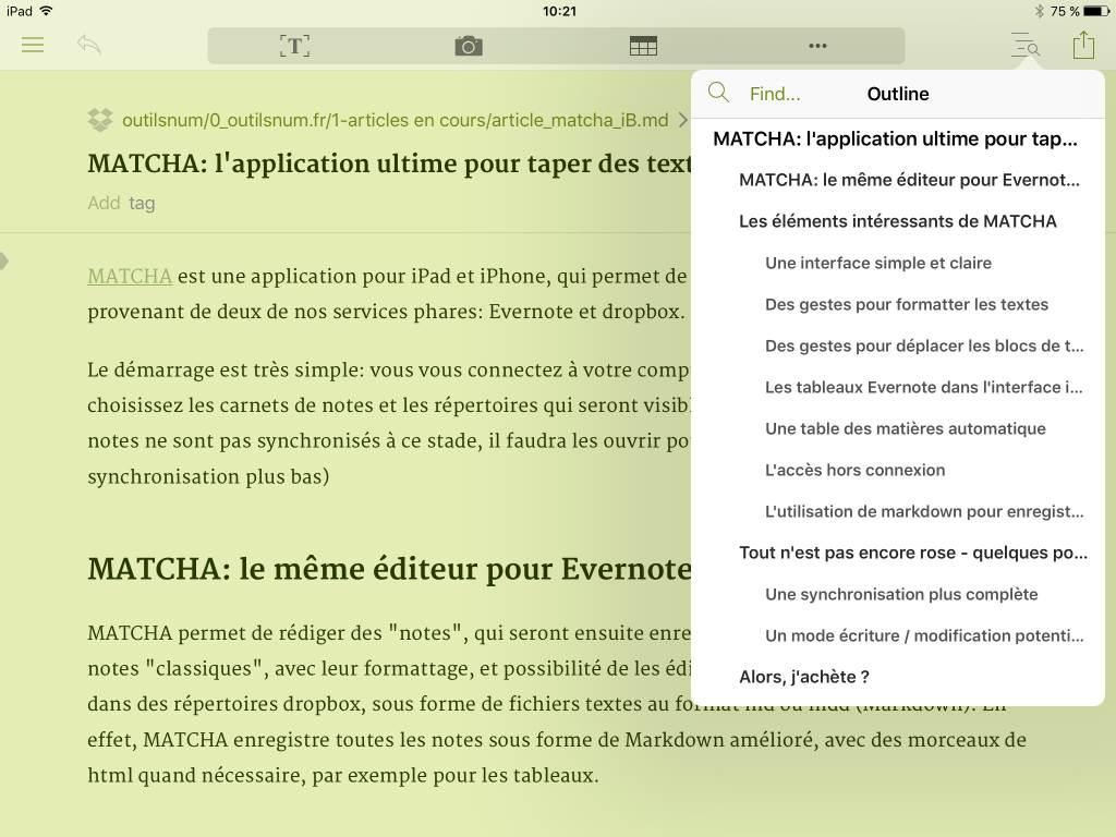 MATCHA iPad client Evernote