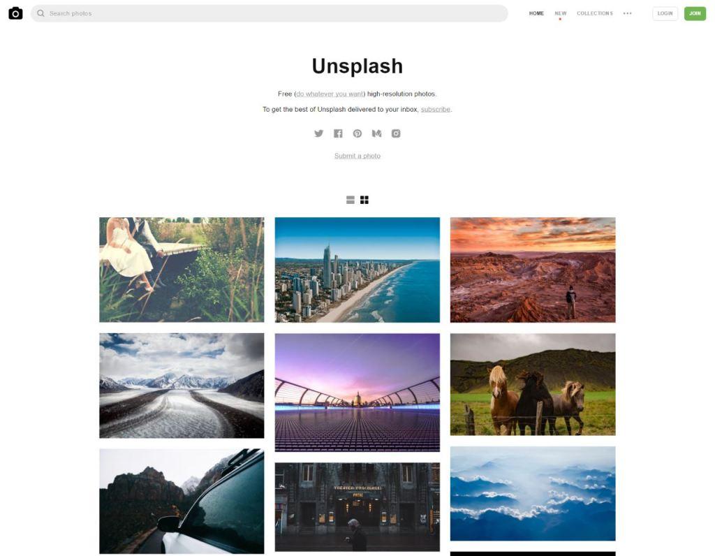 Unsplash Visuels gratuits articles posts