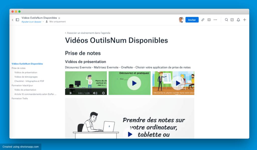 Dropbox Paper liste vidéos OutilsNum