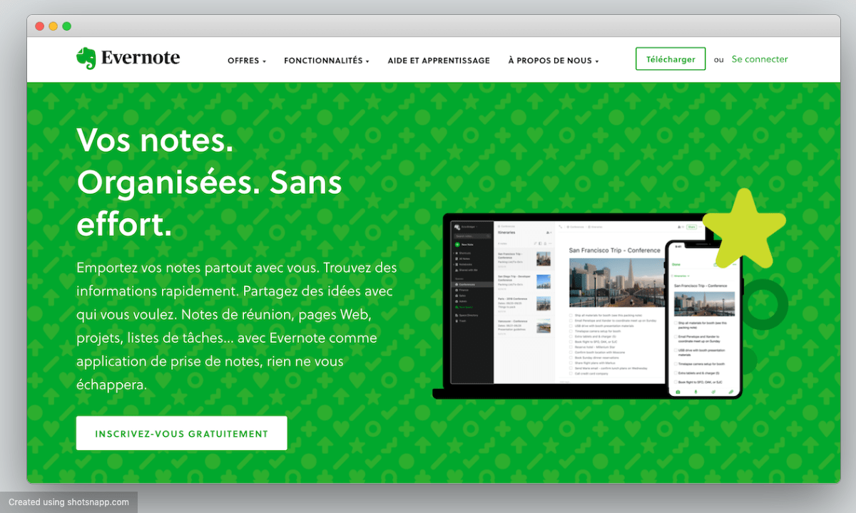 Evernote accueil inscription