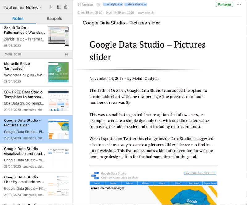 Evernote Web Clipper Article Google Data Studio