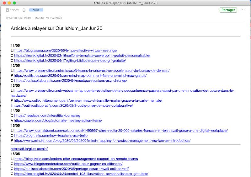 Evernote liste d'articles