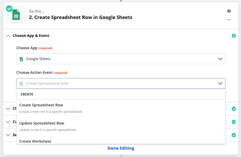 zapier google sheets action