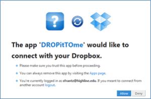 Autorisation dropbox