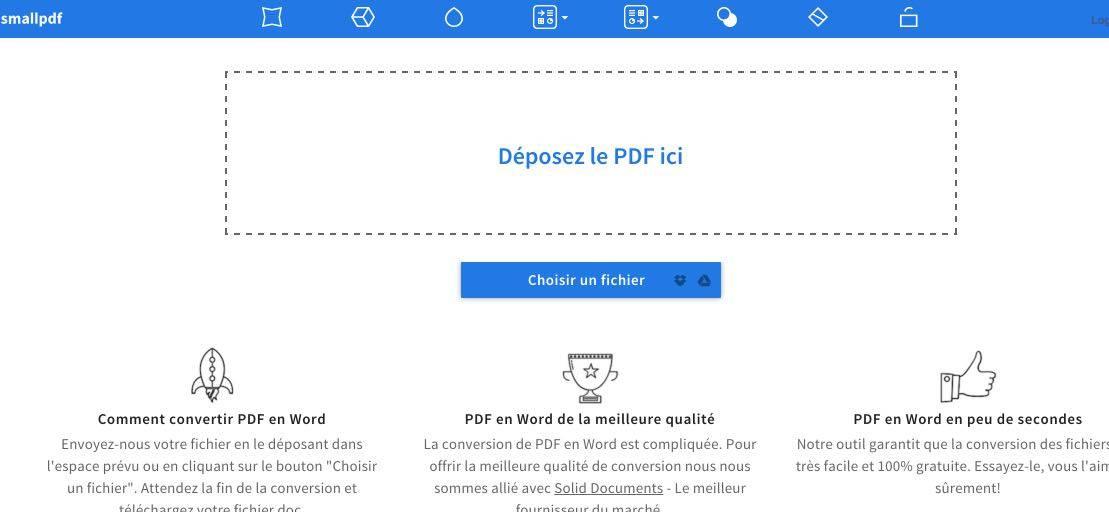 smallpdf  convertir un fichier pdf en word