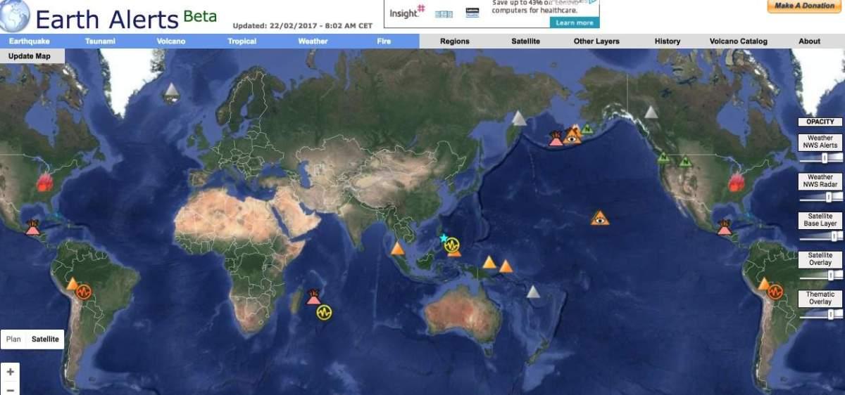 Earth Alerts. Une carte mondiale des catastrophes naturelles