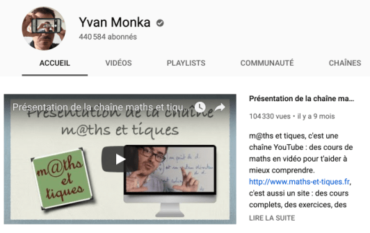 Chaîne Youtube maths
