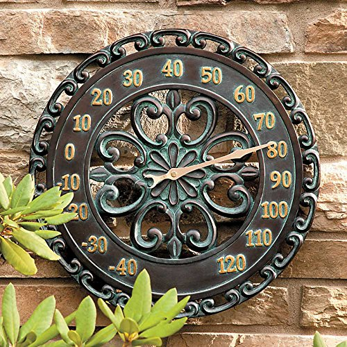 Beautiful decorative outdoor wall hanging thermometer