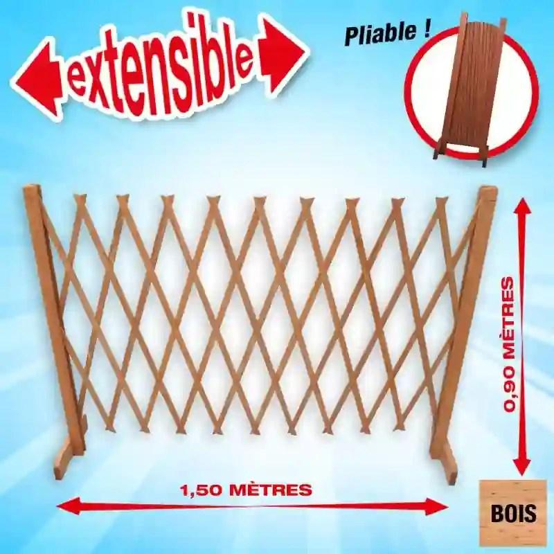 barriere de protection extensible en bois hauteur 90cm largeur maxi 1 50 m