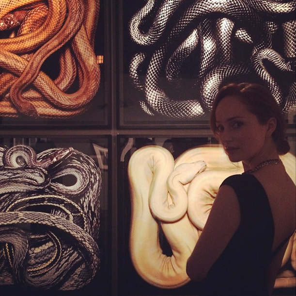 #muse and friend #borgias #outlander #actress @lotteverbeek at #parisphoto #exhibition #losangeles #art #michailsykianakis #fashion #style #photography #snakes