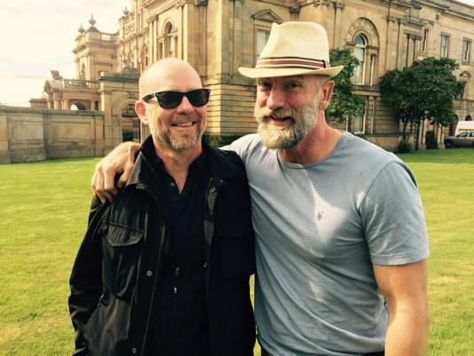 "With my old pal Jason Connery on the set of his movie ""Tommy's Honour"" #GosfordHouse. #SunnyScotland"
