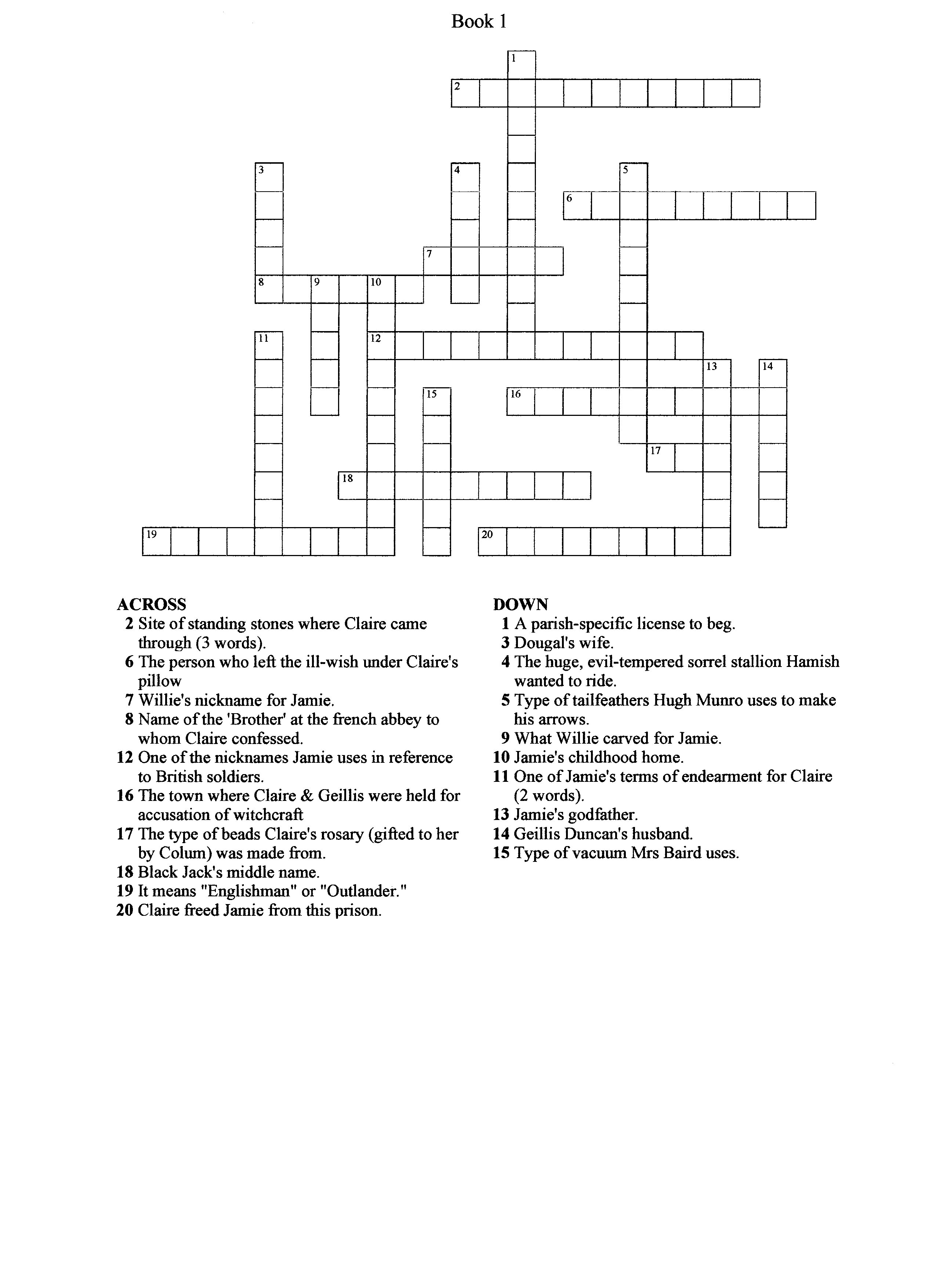 Crossword Puzzle From Book 1 Outlander