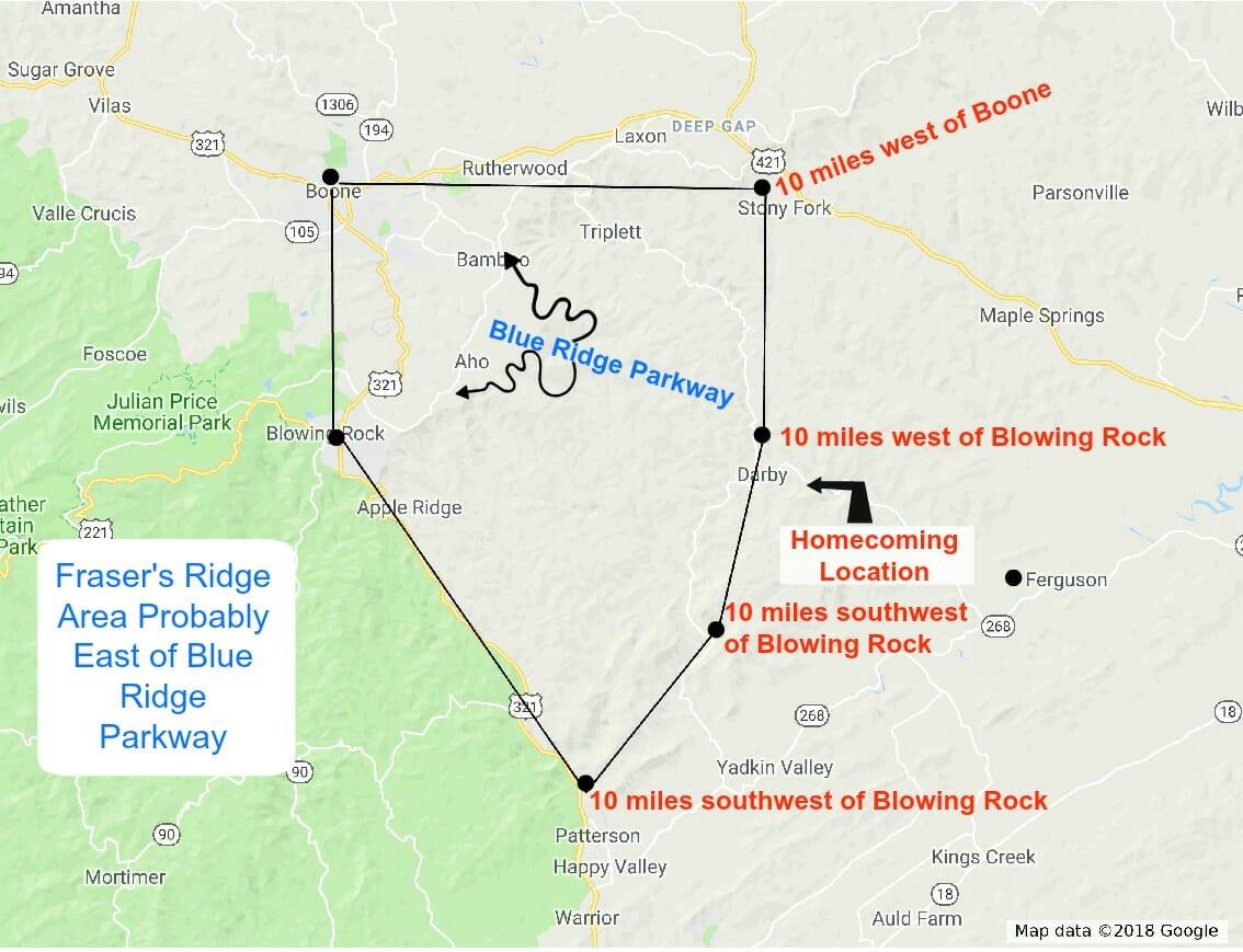 Fraser Ridge Nc Map.Fraser S Ridge Area Map Outlander North Carolina