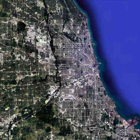 Satellite view, 90km, Metropolitan Chicago, Illinois, USA, Google Earth